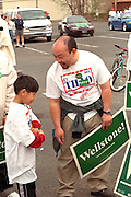 Political supporters age 10 and 42 at Cinco de Mayo festival.  St Paul Minnesota USA