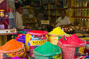 Powder paint colours for Holi festival on sale at Katala Bazar in Jodhpur Old Town, Rajasthan, Northern India