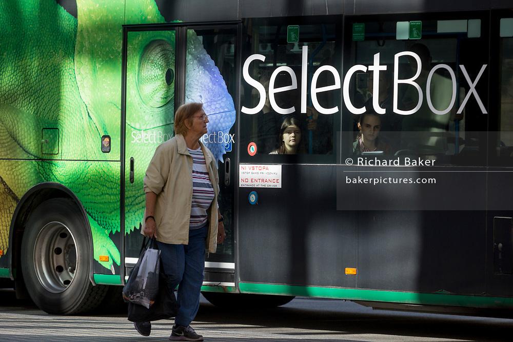 Bus advertising on a city bus on Slovenska Cesta (street) in the Slovenian capital, Ljubljana, on 25th June 2018, in Ljubljana, Slovenia. Ljubljana city buses are operated by the Ljubljanski potniški promet (LPP) public utility company.