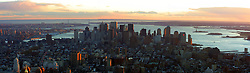 A panoramic photograph of the Manhattan skyline in November 2001, from the top of the Empire State.
