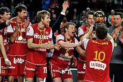 12-02-2012 VOLLEYBAL: BEKERFINALE EUPHONY ASSE LENNIK - NOLIKO MAASEIK: ANTWERPEN<br /> Noliko Maaseik wint vrij eenvoudig de beker van Belgie. In de finale waren zij met 25-21 25-18 en 25-19 te sterk voor Asse Lennik / met Jelte Maan en Michael Parkinson<br /> ©2012-FotoHoogendoorn.nl