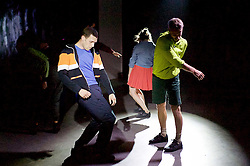 Collapse : A Period Drama <br /> by the New Movement Collective <br /> at Southbank Centre, London, Great Britain <br /> press photocall <br /> 29th July 2016 <br /> <br /> Choreography + Performance<br /> NEW MOVEMENT COLLECTIVE<br /> <br /> Architecture and Design<br /> ScanLAB Projects<br /> <br /> Composer and Cellist<br /> Oliver Coates<br /> <br /> Producer<br /> Malgorzata Dzierzon<br /> <br /> Jonathan Goddard<br /> Renaud Wiser<br /> Clemmie Sveaas<br /> Alexander Whitely <br /> <br /> <br /> Explore ideas of time, group memory and the cyclical ways in which societies evolve.<br /> <br /> This performance combines technology, dance, architecture, sculpture, film and music to reveal a startling new way of seeing the world. It has been created through a collaboration between acclaimed 3D laser artists ScanLAB Projects, Southbank Centre resident composer and cellist Oliver Coates and the award-winning performers of New Movement Collective.<br /> <br /> Photograph by Elliott Franks <br /> Image licensed to Elliott Franks Photography Services