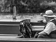 """Henley. Berks, United Kingdom. <br /> <br /> Umpires Steam Launch, """"Consulta"""". The Stoker, keeps an eye on the Dials, during a heat, 2017 Henley' Women's Regatta. Rowing, Henley Reach. River Thames. <br /> <br /> <br /> Saturday  17/06/2017<br /> <br /> <br /> [Mandatory Credit Peter SPURRIER/Intersport Images]"""