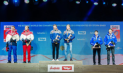 24.02.2019, Medal Plaza, Seefeld, AUT, FIS Weltmeisterschaften Ski Nordisch, Seefeld 2019, Langlauf, Herren, Teambewerb, Siegerehrung, im Bild Silbermedaillengewinner Gleb Retivykh (RUS), Alexander Bolshunov (RUS), Weltmeister und Goldmedaillengewinner Johannes Hoesflot Klaebo (NOR), Emil Iversen (NOR), Bronzemedaillengewinner Federico Pellegrino (ITA), Francesco De Fabiani (ITA), Bronce medalist // Silver medalist Gleb Retivykh Alexander Bolshunov of Russian Federation World champion and Gold medalist Johannes Hoesflot Klaebo Emil Iversen of Norway and Bronce medalist Federico Pellegrino Francesco De Fabiani of Italy during the winner ceremony for the men's cross country team competition of FIS Nordic Ski World Championships 2019 at the Medal Plaza in Seefeld, Austria on 2019/02/24. EXPA Pictures © 2019, PhotoCredit: EXPA/ Stefan Adelsberger