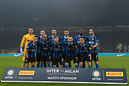 The Inter starting eleven line up for a team photo before kick off, back row ( L to R ); Daniele Padelli, Milan Skriniar, Stefan de Vrij, Matias Vecino, Romelu Lukaku and Diego Godin, front row ( L to R ); Alexis Sanchez, Ashley Young, Nicolo Barella, Marcelo Brozovic and Antonio Candreva during the Serie A match at Giuseppe Meazza, Milan. Picture date: 9th February 2020. Picture credit should read: Jonathan Moscrop/Sportimage