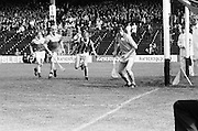 The slitor goes wide as Wexford make another attempt on goal during the All Ireland Senior Leinster Hurling Final Kilkenny v Wexford at Croke Park on the 24th of July 1977. Wexford 3-17 Kilkenny 3-14.