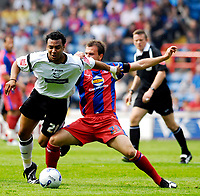 Photo: Alan Crowhurst.<br />Crystal Palace v Derby County. Coca Cola Championship. 29/04/2007. Derby's Giles Barnes (L) challenges with Carl Fletcher.