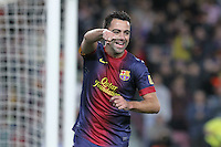 06.01.2013 Barcelona, Spain. La Liga day 18. Picture show Xavi Hernandez in action during game between FC Barcelona against RCD Espanyol at Camp Nou