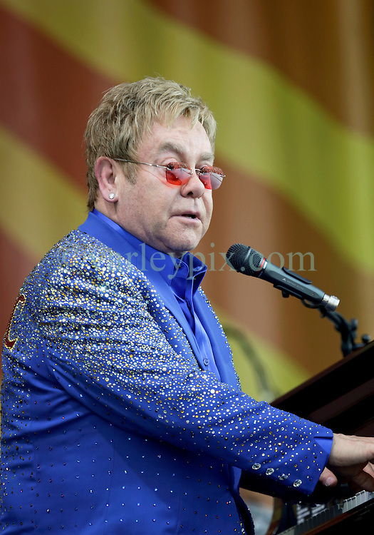 02 May 2015. New Orleans, Louisiana.<br /> The New Orleans Jazz and Heritage Festival. <br /> Sir Elton John wows the Acura stage.<br /> Photo; Charlie Varley/varleypix.com