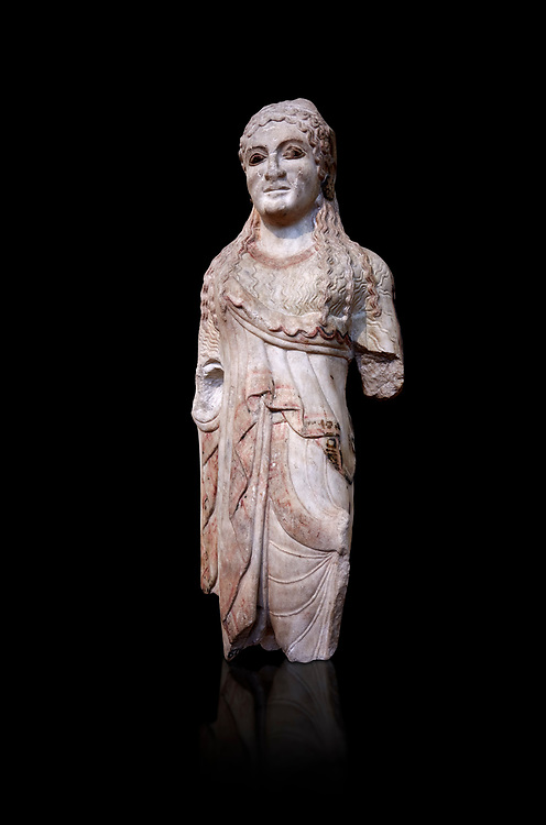 Ancient Greek Archaic statuette of a  kore, found in the Acropolis Athens, 500-490 BC, Athens National Archaeological Museum. Cat no BE 15/2009. Against black<br /> <br /> <br /> The kore statues hair is adorned with a wreath and her ears by round disk earings. Traces of paint can be found on her garments and jewellery. Red paint was found on her hair and eyes. Acropolis Museum Cat no 676, 257 .<br /> <br /> If you prefer to buy from our ALAMY STOCK LIBRARY page at https://www.alamy.com/portfolio/paul-williams-funkystock/greco-roman-sculptures.html . Type -    Athens    - into LOWER SEARCH WITHIN GALLERY box - Refine search by adding a subject, place, background colour, etc.<br /> <br /> Visit our ROMAN WORLD PHOTO COLLECTIONS for more photos to download or buy as wall art prints https://funkystock.photoshelter.com/gallery-collection/The-Romans-Art-Artefacts-Antiquities-Historic-Sites-Pictures-Images/C0000r2uLJJo9_s0