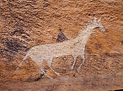 Navajo pictograph of a horse and rider, Standing Cow Ruin, Canyon del Muerto, Canyon de Chelly National Monument, Arizona.