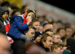 Young bristol City fan sits on his dads shoulders.  - Photo mandatory by-line: Alex James/JMP - Mobile: 07966 386802 - 10/03/2015 - SPORT - Football - Yeovil - Huish Park - Yeovil Town v Bristol City - Sky Bet League One