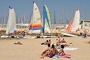 Israel, Tel Aviv, sunbathing on the beach