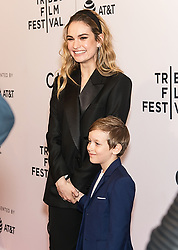 Lily James and Tessa Thompson are seen arriving at the 'Little Woods' premiere at the Tribeca Film Festival in New York. 21 Apr 2018 Pictured: Lily James Lily James and Charlie Ray Reid. Photo credit: MEGA TheMegaAgency.com +1 888 505 6342