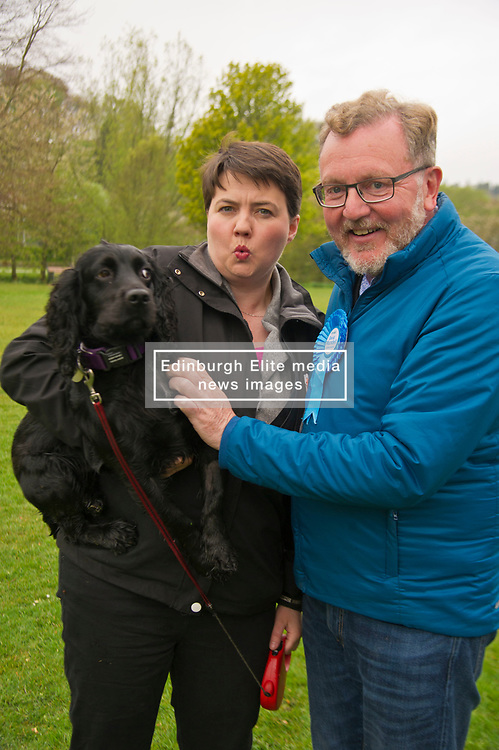 Pictured: Ruth Davson holds her dog Wilson as she joins David Mundell<br /> <br /> Scottish Tory leader Ruth Davidson and Scottish Secretary David Mundell took to the campaign trail in West Linton today.<br /> <br /> Ger Harley | EEm 13 May 2017