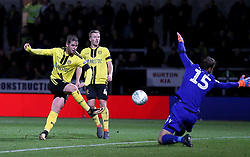 Burton Albion's David Templeton has a shot saved by Nottingham Forest goalkeeper Luke Steele during the Carabao Cup, Fourth Round match at the Pirelli Stadium, Burton.