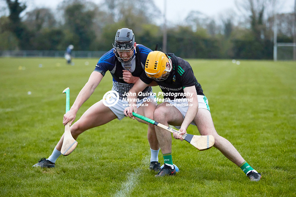 21-04-20, Meath Senior Hurling squad return to training at Dunganny<br /> Daithi McGowan and Shane Whitty pictured during a training manoeuvre<br /> Photo: David Mullen / www.quirke.ie ©John Quirke Photography, Proudstown Road Navan. Co. Meath. 046-9079044 / 087-2579454.<br /> ISO: 5000; Shutter: 1/400; Aperture: 4;