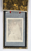 small old photo album with wedding photo