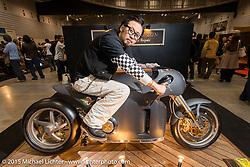 Yuichi Yoshizawa of Custom Works Zon near Kyoto, Japan with their custom Ducati entry at the Mooneyes Yokohama Hot Rod & Custom Show. Yokohama, Japan. December 6, 2015.  Photography ©2015 Michael Lichter.