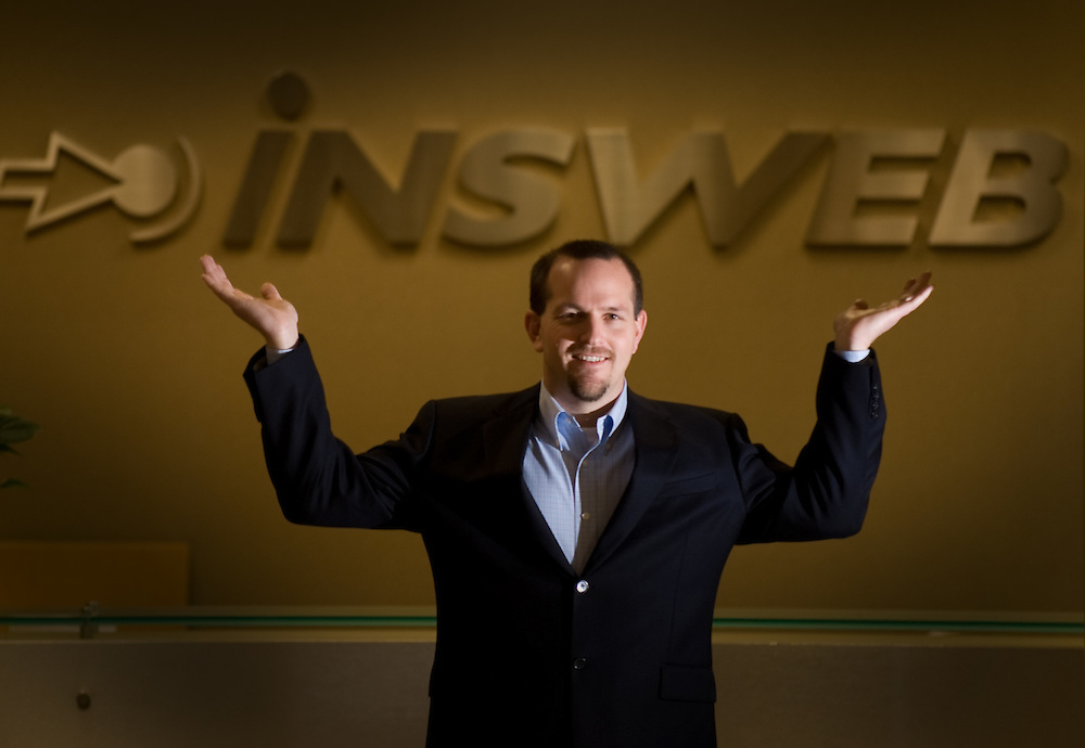 Brad Cooper, the company's senior vice president plays around at the front intrance of the Insweb Corp. InsWeb Corp. the Gold River-based online provider of insurance quotes. InsWeb operates an insurance marketplace that enables consumers to shop online for a variety of insurance products, including auto, term life, homeowners, renters and individual health insurance. It reaches a national audience of users.