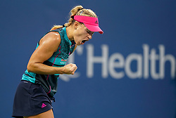 August 15, 2018 - Cincinnati, OH, U.S. - CINCINNATI, OH - AUGUST 15: Angelique Kerber (GER) celebrates after scoring a point during the Western & Southern Open at the Lindner Family Tennis Center in Mason, Ohio on August 15, 2018. (Photo by Adam Lacy/Icon Sportswire) (Credit Image: © Adam Lacy/Icon SMI via ZUMA Press)