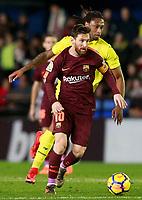 Villarreal CF's Ruben Semedo (b) and FC Barcelona's Leo Messi during La Liga match. December 10,2017. (ALTERPHOTOS/Acero)