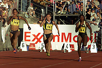 Friidrett, Exxon Mobil Bislett Games, 28. juli 2000.  Christine Arron (146),  Zhanna Pintusevich-Block (143), Chryste Gaines (144). 100 meter.