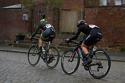 Sheyla Gutierrez and Tiffany Cromwell in the break at the 112.8 km Le Samyn des Dames on March 1st 2017, from Quaregnon to Dour, Belgium. (Photo by Sean Robinson/Velofocus)