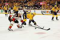 in Game Six of the Western Conference Final during the 2017 Stanley Cup Playoffs at Bridgestone Arena on May 22, 2017 in Nashville, Tennessee.