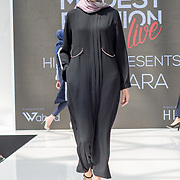 Jenahara showcases it latest collection at the Modest and Beautiful a Modest Fashion Live at The Atrium in Westfield London on June 24, 2018.