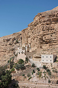 St Georges Orthodox Monastery located in Wadi Qelt in the Eastern West Bank on 3rd April 2016 near Jericho, West Bank. The sixth-century cliff hugging complex, with its ancient chapel and gardens, is active and inhabited by Eastern Orthodox monks.