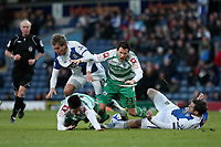 Fellow Norwegians Morten Gamst Pedersen and Petter Vaagan Moen go for the ball between QPR's Alejandro Faurlin and Ryan Nelsen of Blackburn Rovers  at Ewood Park<br />