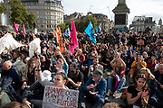 Despite a directive from the police not to gather, Extinction Rebellion take over Trafalgar Square in protest where they gathered for speeches and to form discussion groups on 16th October 2019 in London, England, United Kingdom. Extinction Rebellion is a climate change group started in 2018 and has gained a huge following of people committed to peaceful protests. These protests are highlighting that the government is not doing enough to avoid catastrophic climate change and to demand the government take radical action to save the planet.