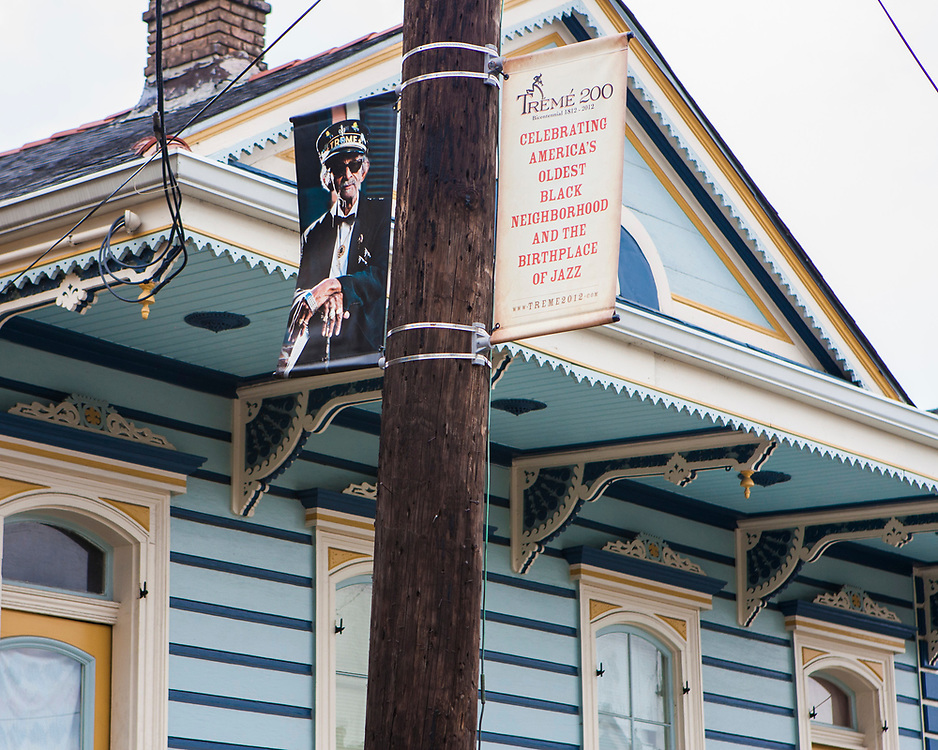 A street banner in Treme depicting Uncle Lionel.
