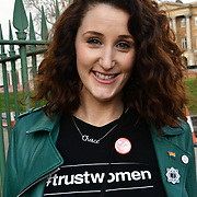 Bronagh Waugh is a Northern Irish actress star in Hollyoaks join London-Irish Abortion Rights Campaign join The colourful St Patrick Parade days 2017 was watched by thousands who line up the streets from Piccadilly to Trafalgar Square where speeches were made and a show with music and dane was given to the thousands who packed the square to celebrate St Patrick day 2019 on 17 March 2019, London, UK.