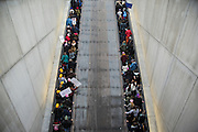 WASHINGTON, USA - January 21: Both escalators are being used by protestors to clear the packed Metro Station that is constantly having trains filled to capacity dropping off people for the the Women's March to protest President Donald Trump in Washington, USA on January 21, 2017. Just one day earlier a much smaller crowd gathered in the same place for the Inauguration of President Trump.