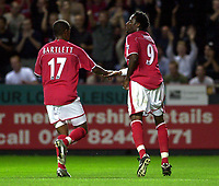 Photo: Greig Cowie.<br /> 26/08/2003.<br /> FA Barclaycard Premiership. Charlton v Everton. The Valley.<br /> Jason Euell celebrates with Shaun Bartlett after scoring from the penalty spot