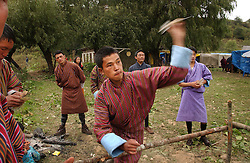 Bhutanese dancers perform in the Jampey Lhakhang festival in Jakar, Bhumtang district October 18, 2005.