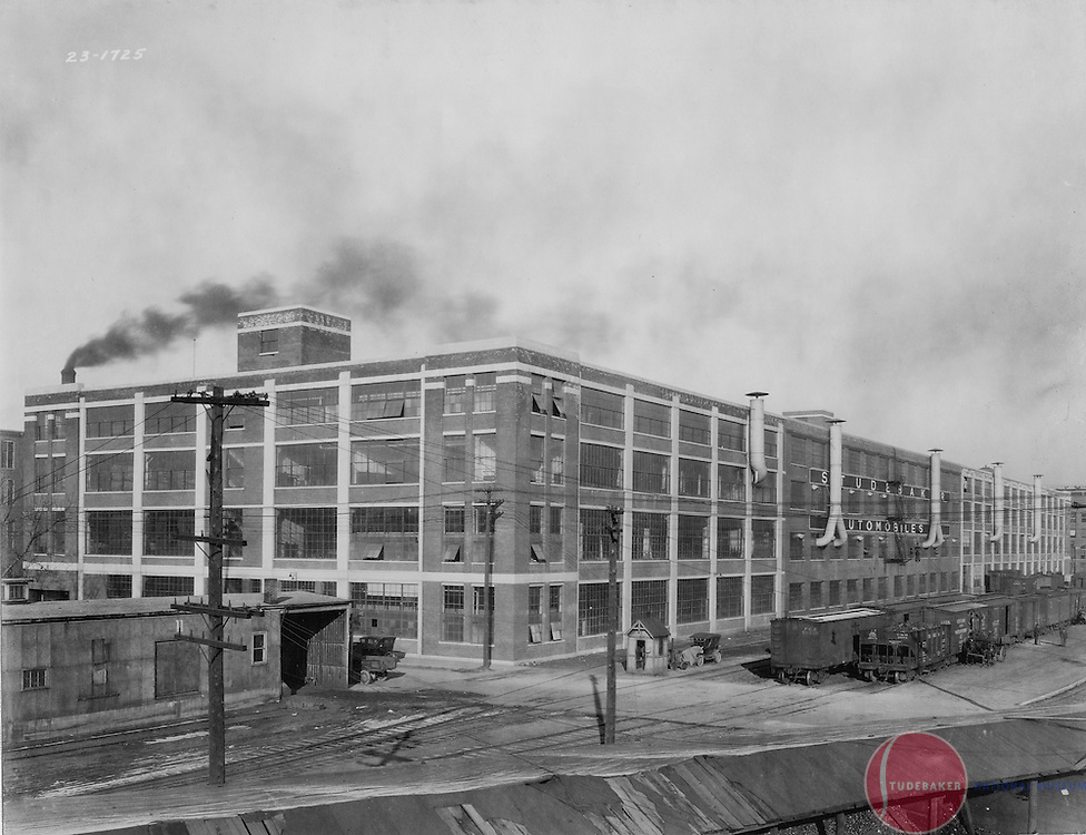 Studebaker buildings 47-48 are shown in this 1923 image. This image faces northwest.  The Studebaker Administration Building is visible at the extreme right. Buildings 47-48 were later known as the Transwestern building.  The Pennsylvania Railroad yard is visible to the right.