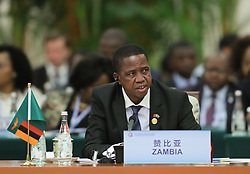 BEIJING, Sept. 4, 2018  Zambian President Edgar Lungu attends the roundtable meeting of the 2018 Beijing Summit of the Forum on China-Africa Cooperation (FOCAC) at the Great Hall of the People in Beijing, capital of China, Sept. 4, 2018.  mcg) (Credit Image: © Ju Peng/Xinhua via ZUMA Wire)