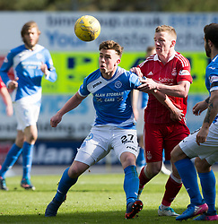 St Johnstone's Craig Thomson and Aberdeen's Johnny Hayes. St Johnstone 1 v 2 Aberdeen. SPFL Ladbrokes Premiership game played 15/4/2017 at St Johnstone's home ground, McDiarmid Park.