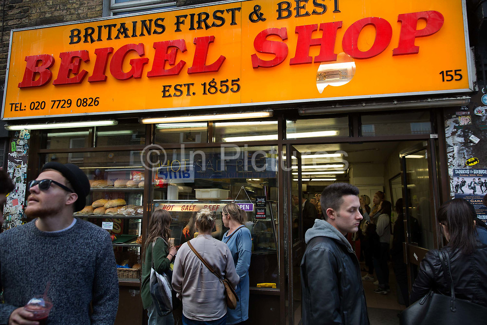 The Brick Lane Beigel shop dates from 1855, competes with another 24-hour establishment three doors down, Beigel Bake. Popular with late-night revellers for their bakery specialities, which include fillings of salt beef and smoked salmon. The shop produces over 5000 beigels per day.