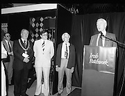 09/08/1979.08/09/1979.9th August 1979.Opening of Irish Patchwork exhibition and Presentation of the Young Designer Awards at Kilkenny Castle. Pictured at the opening L-R Mayor of Kilkenny, Clr Thomas Martin, Ray Burke, Minister of State at the Department of Industry, Commerce and Energy and Sir Basil Goulding, Chairman, Kilkenny Design Workshops.