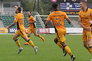 Newport County's Sean Rigg (l) celebrates after scoring his sides 1st and equalising goal. Skybet EFL league two match, Newport county v Crewe Alexandra at Rodney Parade in Newport, South Wales on Saturday 20th August 2016.<br /> pic by David Richards, Andrew Orchard sports photography.