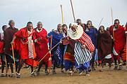 Tribal dance at a Maasai ceremony Maasai is an ethnic group of semi-nomadic people Photographed in Tanzania
