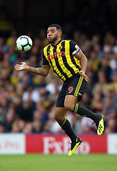 """Watford's Troy Deeney during the Premier League match at Vicarage Road, Watford PRESS ASSOCIATION Photo. Picture date: Saturday September 15, 2018. See PA story SOCCER Watford. Photo credit should read: Nigel French/PA Wire. RESTRICTIONS: EDITORIAL USE ONLY No use with unauthorised audio, video, data, fixture lists, club/league logos or """"live"""" services. Online in-match use limited to 120 images, no video emulation. No use in betting, games or single club/league/player publications."""