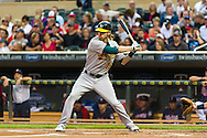 Oakland Athletics right fielder Josh Reddick bats during a game against the Minnesota Twins on July 13, 2012 at Target Field in Minneapolis, Minnesota.  The Athletics defeated the Twins 6 to 3.  © 2012 Ben Krause