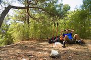 Turkey, Antalya Province, Olympos National Park Hiker at rest