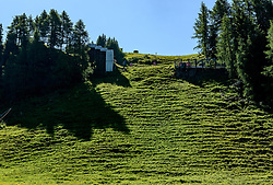 THEMENBILD - Der Blick die Mausefalle hinauf, aufgenommen am 26. Juni 2017, Kitzbühel, Österreich // The view up the Mausefalle at the Streif, Kitzbühel, Austria on 2017/06/26. EXPA Pictures © 2017, PhotoCredit: EXPA/ Stefan Adelsberger