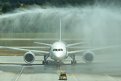 July 3, 2017 - Krakow, Poland - A view of Boeing 787 Dreamliner welcomed by Krakow airport fire brigade, after arriving from Chicago, on the day of the inauguration of Krakow-Chicago new connection operated by PLL LOT, at John Paul II International Airport Krakow–Balice..On Monday, July 3, 2017, in Krakow, Poland. (Credit Image: © Artur Widak/NurPhoto via ZUMA Press)
